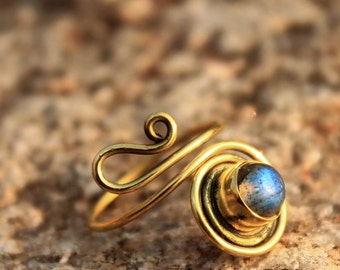 Gemstone Spiral Wire Brass Ring Adjustable DIFFERENT STONES AVAILABLE