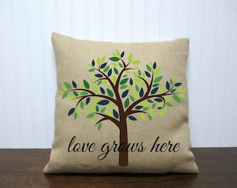 Love Grows Here Pillow Cover. Tree pillow. Wedding Gift Pillow. Customizable Pillow Cover. Personalized Gift.Zipper enclosure