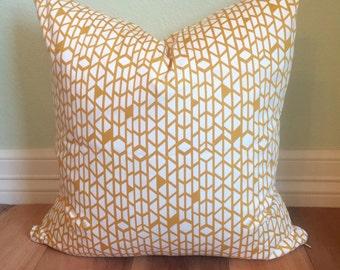 18 x 18 Sham- Mustard Yellow and White Geometric Pillow Sham
