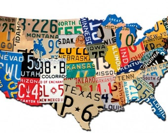 License Plate Map Usa 35 X 21 Inch Plasma Cut Metal Art Sign U S