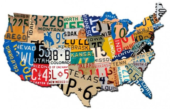USA License Plate Map X Plasma Cut Metal Sign United - Us map with license plates