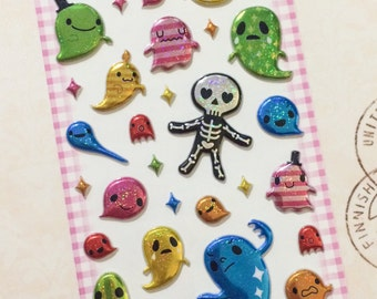 Ghost Stickers from Japan - 3D Sparkly Metallic