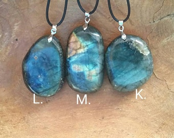 Labradorite/Madagascar /Natural Gemstone Necklace/H