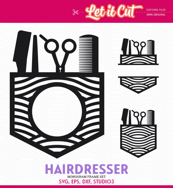Hairdresser Monogram Frame Svg Eps Dxf Studio3 Hair