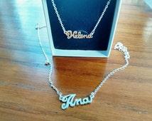 Collar y Pulsera carrie,nombre en plata 925ml,hecho a mano.Personalizado