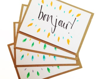 Bonjour! - A6 calligraphy folded greetings card / hello / thank you