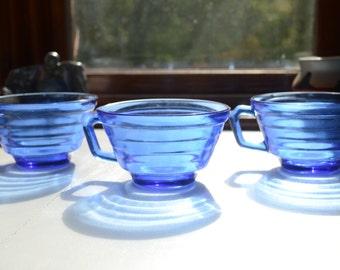 hazel atlas blue glass tea cups set of 3