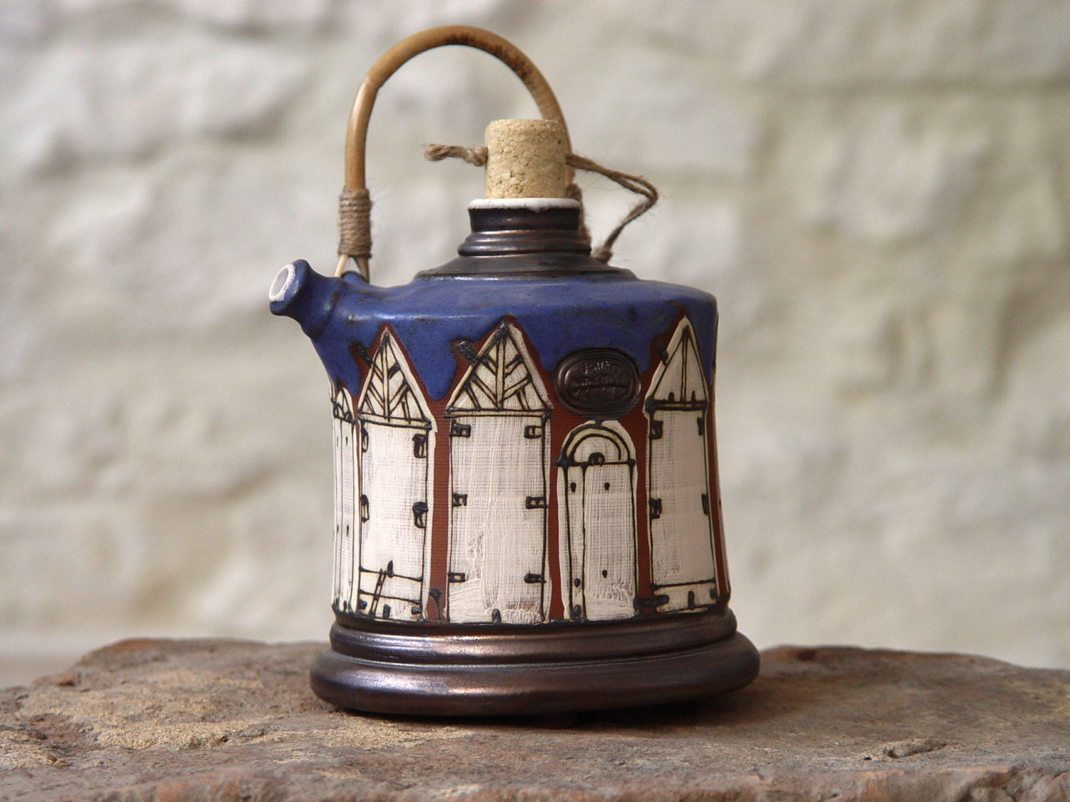 Blue pottery pitcher with wicker handle ceramic bottle wall hanging clay pot unique watering - Unusual watering cans ...