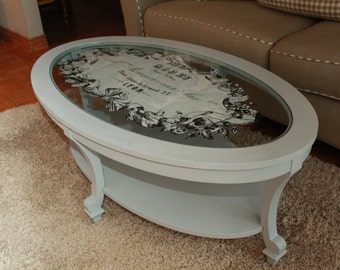 Hand Painted French Country Oval Glass Coffee Table