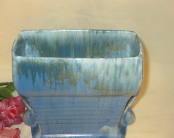 """Beautiful Blue and Green Art Deco Roseville Pottery """"Tourmaline"""" Pillow Vase"""