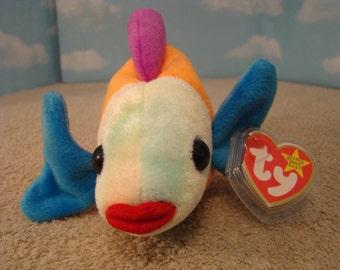 "LIPS Kiss Fish Orange Blue Purple  8""  Beanie Baby 1999"