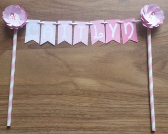 Custom Made Pink Flower Ombre Birthday Cake Bunting