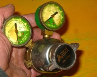 Double Oxygen Gauge, Steampunk , Robot Parts, Regulator Gauge