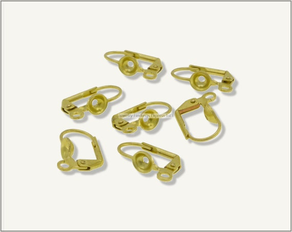 20 pc.+  Leverback Earwire with 5mm Setting Cup with 1.6mm Center Hole - Raw Brass