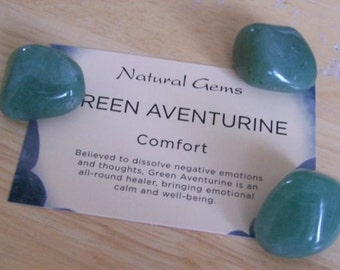 Green Aventurine Tumblestones - Pack 3 Crystals with Card Insert