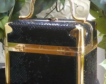 Vintage Comeco Black Mesh Box Trunk Train Bag