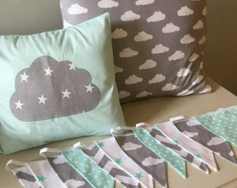 nursery clouds stars cushion cover & Bunting nursery bedroom modern contemporary vintage style,shabby chic spotty stripe