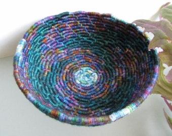 Celestial Night Sky Spiral Coiled Jute Fiber Ring Basket w/ Moon Center (Teal, Turquoise, Jewel Tones) - Original Design!