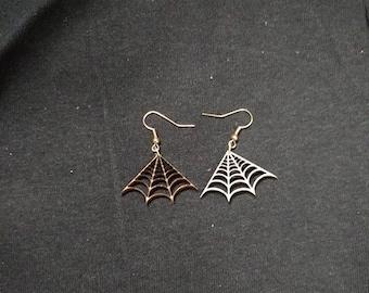 """Laser-cut wood """"Spiderweb"""" reversible earrings"""
