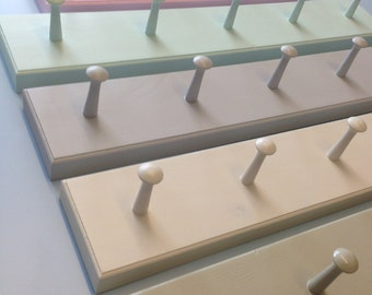 Shabby chic shaker peg rail - wooden coat hooks rack hand painted