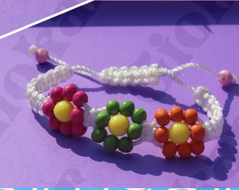 Flower beaded macrame bracelet