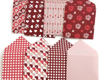 Set of 8 - Square envelopes - valentine cards - valentine's envelope -mini square envelope - gift envelopes - heart envelope - mini envelope