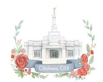 Oklahoma City Temple Wedding Gift Anniversary Present Mormon Painting LDS Latter Day