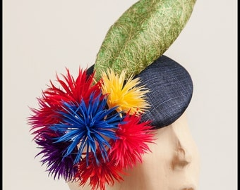 Navy blue fascinator,colourful feather flowers,Ascot headpiece,Melbourne Cup,races hat,mother of the bride hat,wedding fascinator,occasion