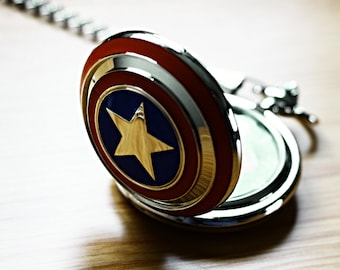 Captain America Pocket Watch with Marvel Avengers Superhero comic book Vintage Inspired silver plated decoration for men's waistcoat