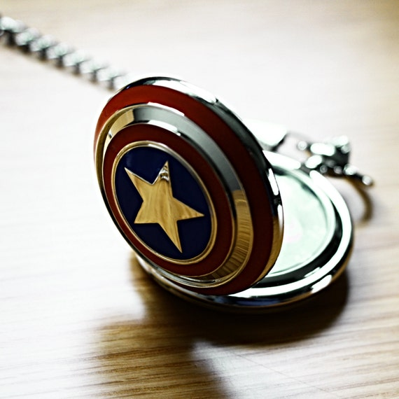captain america pocket watch with marvel avengers superhero