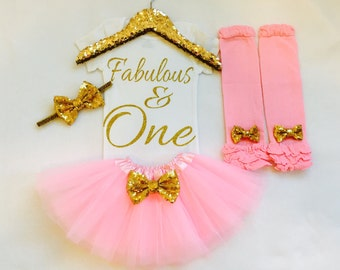 Fabulous and one pink and gold first birthday outfit, pink gold 1st birthday outfit, pink and gold first birthday outfit, fabulous and one