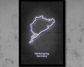 Nurburgring Circuit Neon Art F1 Circuit F1 Art F1 Track Circuit Print Man Cave Gift for Him Automotive Art Race Track Home Décor Neon Print