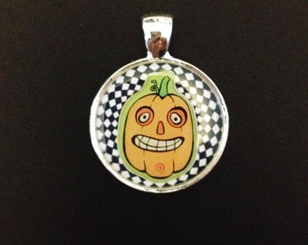 Spooky Spiral Tall Jack O' Lantern Halloween Resin Pendant, Silver Color.
