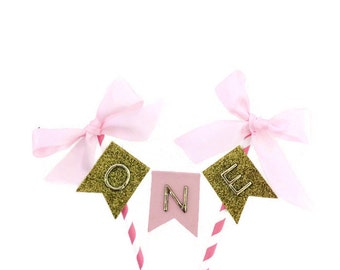 First birthday cake topper , Pink and gold first birthday cake topper with oversized pink bows,cake bunting, cake banner, first birthday, 1s
