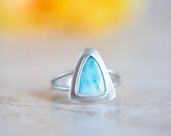 Larimar Ring, Blue Gemstone Ring, Triangle Shape Larimar Silver Ring