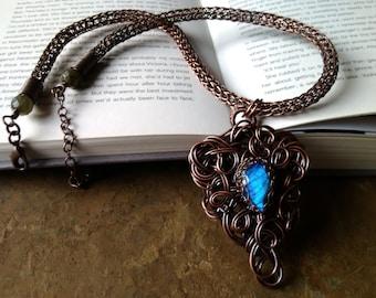 Labradorite Viking Knit Necklace, Something Blue Jewelry, Labradorite Pendant, Elvish Jewelry, Wire Wrapped Jewelry, Adjustable Length