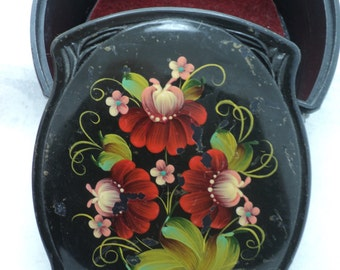 Vintage Hand Painted Russian Plastic Box Red Flowers Leaves