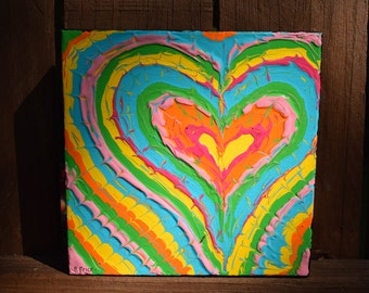 Brightly Colored Hearts Handpainted on 6x6 Canvas