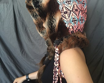 Tribal Pattern Hood with Brown Fur