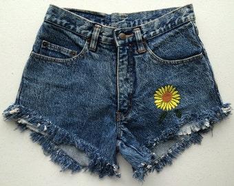 29 Pepe Denim Sunflower Shorts Women 90's Hippie