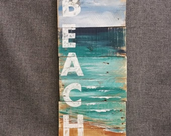 Wood Beach Wall Art, Hand painted sign seascape with BEACH, Cottage, upcycled, Wall art, Distressed, Shabby Chic