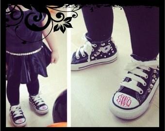 Toddlar Converse Shoe Decals - Personalized Monograms (set of 2) - Vine Script Initals; vinyl decals
