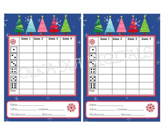 BUY 2 Get 1 FREE STARRY Night Christmas Trees Complete Set Bunco Score Card Matching Table Numbers Tally Printable Digtal File Download
