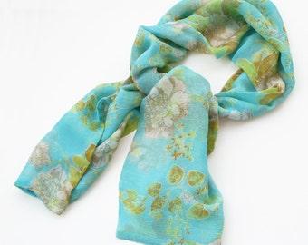 Vintage Floral Stole, Floral Scarf, Vintage Flower Scarf, Turquoise Scarf