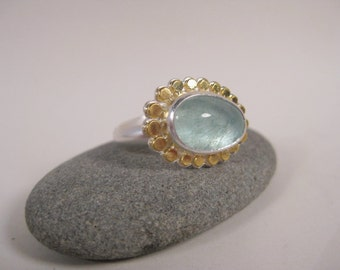 Aquamarine Ring, Natural Aquamarine set in Sterling Silver with 22k Gold, Made by Hand in Maine