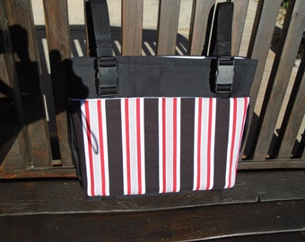 Black and red striped walker tote