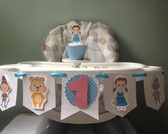 Wizard of Oz, Dorothy, Tin Man, Scarecrow, Lion 1st or 2nd Birthday Party Highchair Banner