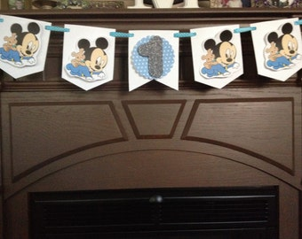 Baby Mickey Mouse or Baby Minnie Mouse Birthday Party Mini Banner