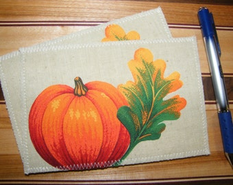 Set of 2 Appliqued Fall Leaves and Pumpkins Fabric Postcard Stationary
