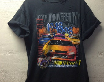Nascar customized tshirt 1998 ripped and torn  large black